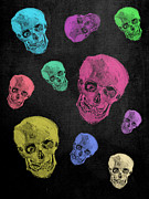 Neon Colors Digital Art - Van Gogh Skull remixed by Filippo B