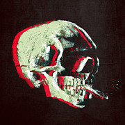 Neon Colors Digital Art - Van Gogh Skull with burning cigarette remixed 3 by Filippo B