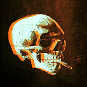 Adaptation Prints - Van Gogh Skull with burning cigarette remixed 4 Print by Filippo B
