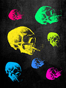 Adaptation Prints - Van Gogh Skull with burning cigarette remixed Print by Filippo B