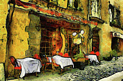 Table Mixed Media Metal Prints - Van Gogh Style Restaurant Metal Print by Zeana Romanovna