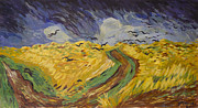 Crows Paintings - Van Gogh Wheat Field with Crows Copy by Avonelle Kelsey