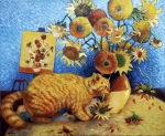 Sunflower Painting Metal Prints - Van Goghs Bad Cat Metal Print by Eve Riser Roberts