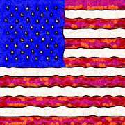 July 4th Digital Art Prints - Van Gogh.s Starry American Flag . Square Print by Wingsdomain Art and Photography