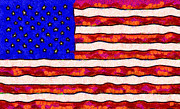 4th Prints - Van Gogh.s Starry American Flag Print by Wingsdomain Art and Photography