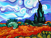 Genevieve Painting Originals - Van Goghs Wheat Field With Cypress by Genevieve Esson