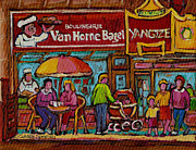 Streetscenes Paintings - Van Horne Bagel With Yangtze Restaurant Montreal Street Scene by Carole Spandau