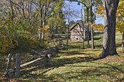 Split Rail Fence Prints - Vance Birthplace Smokehouse Print by Frank Burhenn