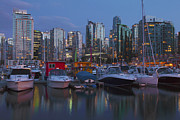 Quite Posters - Vancouver BC and yachts at dusk Canada. Poster by Gino Rigucci