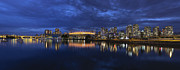 Cambie Bridge Prints - Vancouver BC Canada Skyline by False Creek at Blue Hour Print by JPLDesigns