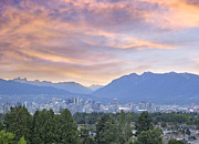 Burrard Inlet Posters - Vancouver BC City at Sunset Poster by JPLDesigns