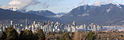 Burrard Inlet Posters - Vancouver BC City Skyline and Mountains Poster by JPLDesigns
