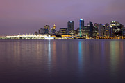 Burrard Inlet Posters - Vancouver BC City Skyline at Dawn Poster by JPLDesigns