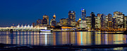 Burrard Inlet Posters - Vancouver BC City Skyline Reflection Poster by JPLDesigns