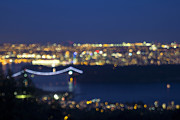 Burrard Inlet Posters - Vancouver BC Cityscape at Blue Hour Defocused Poster by JPLDesigns
