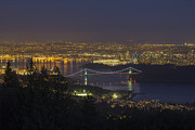 Burrard Inlet Posters - Vancouver BC Cityscape at Blue Hour Poster by JPLDesigns