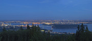 Burrard Inlet Posters - Vancouver BC Cityscape at Blue Hour Panorama Poster by JPLDesigns