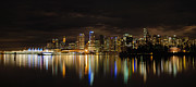 Burrard Inlet Posters - Vancouver BC Downtown Skyline at Night Poster by David Gn