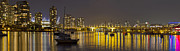 Cambie Bridge Posters - Vancouver BC Skyline and Cambie Bridge at Night  Poster by JPLDesigns