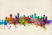 Skylines Digital Art Posters - Vancouver Canada Skyline Poster by Michael Tompsett