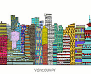 Vancouver Mixed Media - Vancouver city skyline  by Brian Buckley