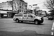 Medic Prints - Vancouver fire rescue services medic fast response vehicle speeding through downtown eastside BC Can Print by Joe Fox