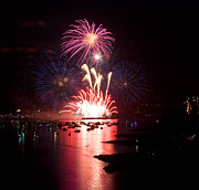 Vancouver Photo Prints - Vancouver Fireworks 1 Print by Terry Elniski