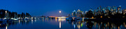 Vancouver Photo Prints - Vancouver Harbour Moonrise 1 Print by Terry Elniski