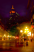 Vancouver Mixed Media - Vancouver Night Lights - Steam Clock in Gastown  by Alex Khomoutov