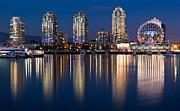 Blue Hour Framed Prints - Vancouver Postcard Framed Print by Alexis Birkill