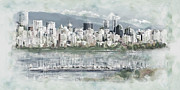 Skylines Paintings - Vancouver Skyline by Maryam Mughal