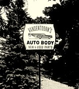 Up For Repairs Prints - Vandentoorns Auto Body New and Used Parts Sign Print by Rosemarie E Seppala