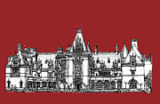 Wedding Venue Drawings Prints - Vanderbilts Biltmore Estate in red Print by Lee-Ann Adendorff