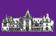 Ideas Drawings Prints - Vanderbilts Biltmore in Purple Print by Lee-Ann Adendorff