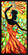 Caribbean Sea Paintings - Vanessa Fan Dancer by Lee Vanderwalker