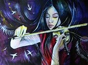 Violin Drawings Prints - Vanessa-Mae Print by Anna  Duyunova