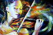 Anna Duyunova Art Prints - Vanessa-Mae.Power of Music Print by Anna  Duyunova