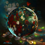 Spheres Digital Art - VanGlobing a Meadow Still life by Robin Moline