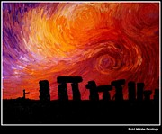 Vangogh Framed Prints - Vangogh Went To Stonehenge Framed Print by Rohit Malshe