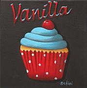 Cherry Art Metal Prints - Vanilla Cupcake Metal Print by Catherine Holman