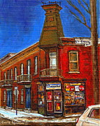 Verdun Landmarks Framed Prints - Vanishing Montreal Landmark Depanneur Ste. Emilie And Bourget Montreal Painting By Carole Spandau  Framed Print by Carole Spandau