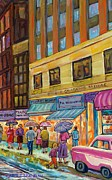 Montreal Storefronts Paintings - Vanishing Montreal-rainy Day Downtown Streetcar To Morgans Department Store by Carole Spandau