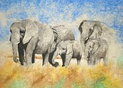 Pachyderm Framed Prints - Vanishing Thunder Series - The Family  Framed Print by Suzanne Schaefer