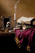 Roemer Framed Prints - Vanitas - Skull-Mirror-Books and Candlestick Framed Print by Levin Rodriguez