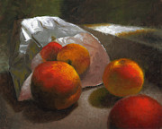 Local Food Painting Framed Prints - Vanzant Peaches Framed Print by Timothy Jones