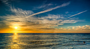 Sunset Seascape Digital Art Prints - Vapor Trail Print by Adrian Evans