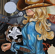 Cowgirl Mixed Media - Vaquera de the Tambourine by Katia Von Kral