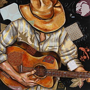 Cowboys Mixed Media - Vaquero de the Acoustic Guitar by Katia Von Kral