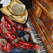 Cowboys Mixed Media - Vaquero de the Piano by Katia Von Kral