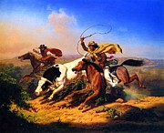 Steer Framed Prints - Vaqueros Roping a Steer Framed Print by Pg Reproductions
